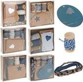 Verzend, Geschenk, Knutsel set, houtklos met koord, lint, Label