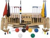 Ultieme Executive Croquet set, 6-persoons, ECO hardhout, kunststof ballen, 16mm dikke poorten-Croquet kiste