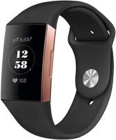 YONO Siliconen bandje - Fitbit Charge 3 - Zwart - Small