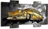 Schilderij | Canvas Schilderij Oldtimer, Auto | Grijs, Geel, Goud | 120x65cm 5Luik | Foto print op Canvas