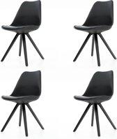 Essence Legno kuipstoel - Zwarte zitting - Zwart houten onderstel - Set van 4