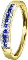 Lucardi - Diamond Luxury - 14 Karaat geelgouden ring saffier en diamant