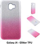 Kleurovergang Roze Glitter TPU Achterkant voor Samsung Galaxy J4 -Zacht en duurzaam - TPU