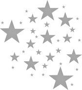 Grijze sterren muursticker Mix / 33 stuks / Muurdecoratie voor de babykamer / Slaapkamer / Grijze sterren - 33 stuks