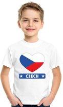 Tsjechie kinder t-shirt met Tsjechische vlag in hart wit jongens en meisjes XS (110-116)