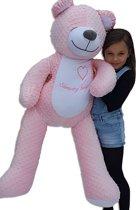 Grote zoemende teddybeer - slaapknuffel - met witte ruis geluid - circa 130cm - roze