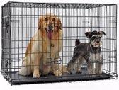 PETSTORE Hondenbench zwart 122x74x81 CM + Pvc Lade - 2 deuren - Extra Strong + Tussenschot