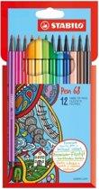 Stabilo Pen 68 Viltstift Etui 12 Stuks