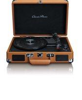 Classic Phono TT-10 Bruin - Platenspeler in retro design met 2 ingebouwde speakers