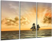 Canvas schilderij Boot | Geel, Bruin, Grijs | 120x80cm 3Luik