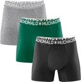 Muchachomalo Uni Heren light cotton boxershort - 3 pack - Grijs/Groen/Zwart - Maat S