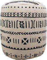HSM Collection Poef - ø35 cm - katoen - zwart/wit