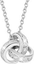 Lucardi Zilveren Ketting en Hanger - Knoop Met Zirkonia - 45 cm