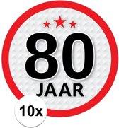 10x 80 Jaar leeftijd stickers rond 15 cm - 80 jaar verjaardag/jubileum versiering 10 stuks