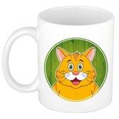 1x Rode katten beker / mok - 300 ml - poezen dieren mok voor kinderen