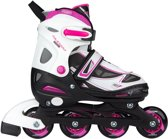 Nijdam Junior Inlineskates Junior Verstelbaar - Semi-Softboot - Lightning - Fuchsia/Wit/Zwart - 34-37