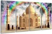 Glasschilderij Taj Mahal | Crème | 160x80cm 4Luik | Foto print op Glas |  F005888