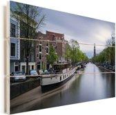 De Prinsengracht van Amsterdam bij daglicht Vurenhout met planken 30x20 cm - klein - Foto print op Hout (Wanddecoratie)