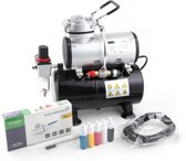 Airbrush Set Fengda AS-186K met compressor AS-186, Airbrush BD-130 en accessoires