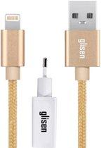 Glisen - Ultra Sterke iPhone oplader – lightning kabel voor iPhone 5 5s 5c SE X 6 6s 7 8 Plus iPad iPod - 1,5 meter - Goud