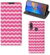 Motorola Moto E6 Plus Hoesje met Magneet Waves Pink
