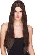 Luxe lange bruine pruik voor vrouwen  - Verkleedpruik - One size