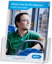 Set van 2 transparante acryl folderhouders voor A5 brochures, met voetje