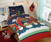 kerst dekbedovertrek Santas Grotto - eenpersoons dekbedhoes met 1 kussensloop