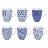 Tokyo Design Studio Nippon Blue Set van 6 Mokken 380 ml