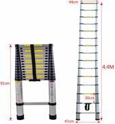 Telescopische ladder - 13 Treeds - Werkhoogte 4.40m - Aluminium