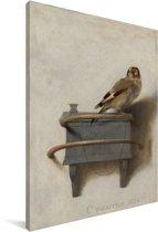Het puttertje - Schilderij van Carel Fabritius Canvas 20x30 cm - klein - Foto print op Canvas schilderij (Wanddecoratie woonkamer / slaapkamer)