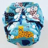 AN8 AIO Newborn wasbare Pocket luier luipaard