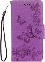 Mobigear Vlinder Bookcase Hoesje Paars Motorola Moto G5 Plus