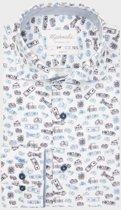 Blauw wit geprint Auto Shirt van Michaelis 42