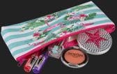 etui Flamingo Strepen - PVC pennenhouder make-up tasje pennenetui