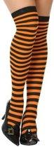 Oranje/zwarte gestreepte verkleed kousen voor dames