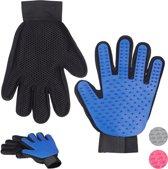 relaxdays 2 paar vachtverzorgingshandschoen hond kat - borstel handschoen honden - blauw