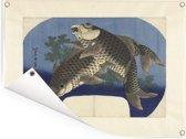 Twee karpers - Schilderij van Katsushika Hokusai Tuinposter 160x120 cm - Tuindoek / Buitencanvas / Schilderijen voor buiten (tuin decoratie) XXL / Groot formaat!
