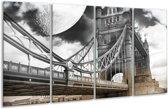 Glasschilderij Modern | Rood, Grijs, Zwart | 160x80cm 4Luik | Foto print op Glas |  F004420