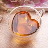 Dubbelwandig Glas met Hart Vorm - 240 ml - Koffie of Thee