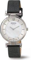 Boccia Titanium 3238-01 Horloge - Leer - Zwart - 30 mm