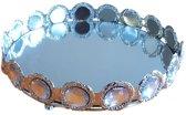 Decoratie tray / dienblad met spiegel IRIS - Zilver - Diamant - Ø 19.5 x H 4 cm - Rond - Maat S