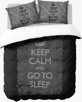 Nightlife Keep Calm Black - Dekbedovertrek - Tweepersoons - 200 x 200/220 cm - Zwart
