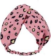 Haarband met panter/luipaard print, roze