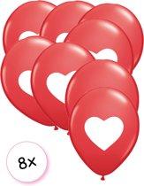 Ballonnen Rood met wit hartje 8x