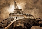 Fotobehang Paris Eiffel Tower Sepia | XXXL - 416cm x 254cm | 130g/m2 Vlies