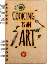 Houten notitieboek - A4 - Blanco - Cooking is an Art
