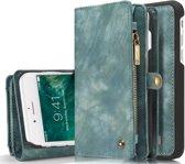 Lederen Wallet case - iPhone X / XS  - grijs / blauw