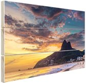 Avondlucht  Rio de Janeiro Hout 60x40 cm - Foto print op Hout (Wanddecoratie)