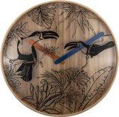 NeXtime Tropical Birds - klok - Rond - Hout en Glas - Stil uurwerk - Ø 40 cm - Multi color
